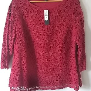 Talbot's Red Lace Blouse, Size 18W